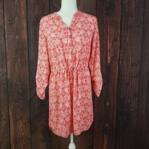 Crown and Ivy Coral Elephant Pattern Dress